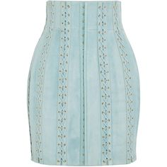 Balmain Lace-up suede mini skirt (4 673 AUD) ❤ liked on Polyvore featuring skirts, mini skirts, balmain, sky blue, suede skirt, tulip skirt, high-waist skirt, blue skirt and suede mini skirt