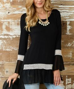 Look what I found on #zulily! Black Sheer-Trim Scoop Neck Tunic #zulilyfinds