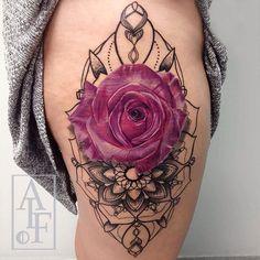 Pink Rose & Mandala Hip Tattoo