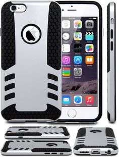 iPhone 6 Case, CaseAce(TM) ULTRA ARMOR COMBO HYBRID iPhone 6 Case / Best iPhone 6 TOUGH Case for 4.7 inch Screen | Double Layer SHOCKPROOF iPhone 6 Case Cover (Does NOT fit iPhone 5 5S 5C 4 4s or iPhone 6 Plus 5.5 inch screen) (Silver)