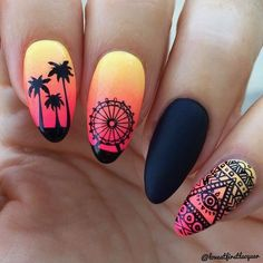 Neon pink orange and yellow gradient wi. Neon pink orange and yellow gradient with black festival stamping. Summer Nails Neon, Neon Nails, Summer Acrylic Nails, Best Acrylic Nails, Yellow Nails, Pink Nails, Matte Nails, Gradient Nails, Black Nails