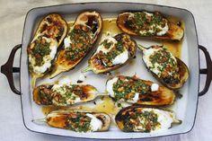 Roasted Eggplant with Cilantro-Almond Salsa recipe: A perfect vegetarian main. #food52