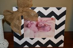 Hand Painted 5X7 Black and White Chevron Picture Frame with Burlap Bow on Etsy, $20.00 DIY