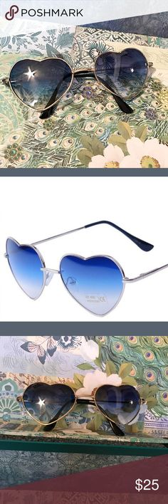 👓Heart Sunglasses with Blue Fade Metal framed blue fade lenses sunglasses. New in package Accessories Glasses