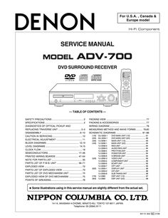 Denon ADV700 Service Manual Conplete Safety Precautions, Table Of Contents, Manual, The Unit, Textbook, Content Page