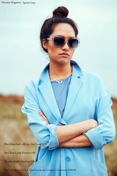 Sports-Luxe  Blue Silk Drape Back Top €230: Zoë Carol Blue Duster Coat €28: Penneys Perspex Sunglasses €28: Topshop Sterling Silver Necklace €259.99: Chris Lewis @ Concepts, Greystones  Photographer: Kyle Tunney www.kyletunneyphotography.com Stylist: Mairead Vickers www.maireadvickers.com Hair & Makeup: Orlaith Shore  Model: Dina @Flawless Model Management Sports Luxe, Fashion Stylist, Sterling Silver Necklaces, Duster Coat, Wrap Dress, Stylists, Hair Makeup, Topshop, Management