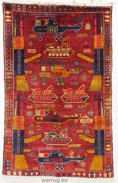 155x95 cm Afghan Warrug  Kriegteppich handgeknüpf Teppich rug Afghanistan PK1
