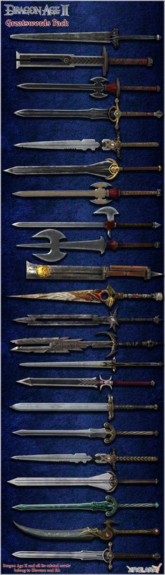 Dragon Age II: Greatswords Model Pack by Berserker79 equipment gear magic item | Create your own roleplaying game material w/ RPG Bard: www.rpgbard.com | Writing inspiration for Dungeons and Dragons DND D&D Pathfinder PFRPG Warhammer 40k Star Wars Shadowrun Call of Cthulhu Lord of the Rings LoTR + d20 fantasy science fiction scifi horror design | Not Trusty Sword art: click artwork for source