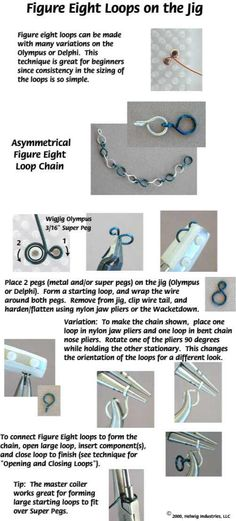 Wire Figure 8 jewelry making technique made using WigJig jewelry tools and jewelry supplies.
