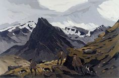 Kyffin Williams Farmers on the Carneddau 1980 Famous Artists Paintings, Your Paintings, Landscape Art, Landscape Paintings, Landscapes, Kyffin Williams, Cymru, Mountain Paintings, Art Uk