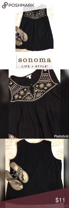 Sonoma Sleeveless Embroidered 💯 Cotton Top Size L Sonoma Sleeveless Embroidered 💯Cotton Top Size L Sonoma Tops Tank Tops