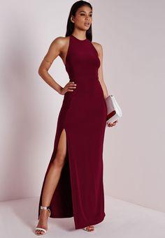 Slinky Side Split Maxi Dress Burgundy, Burgundy