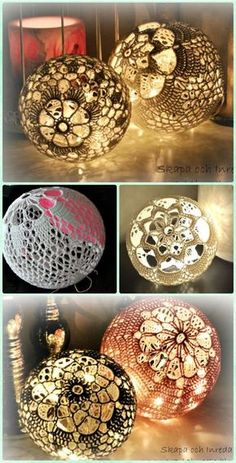 Crochet Light Ball Chandelier Free Pattern - Crochet Lamp Shade Free Patterns