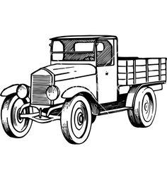 Old car vector image on VectorStock Truck Coloring Pages, Coloring Sheets, Coloring Books, Truck Crafts, Car Vector, Wood Burning Patterns, Truck Art, Car Drawings, Chevy Trucks