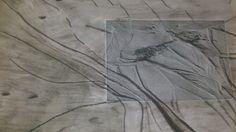Kohlezeichnung mit Foto . Nordsee Impressionen , Das Watt
