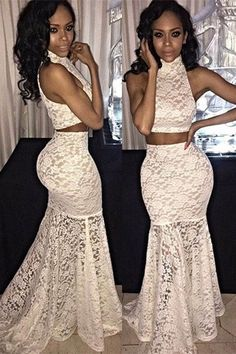 White lace two pieces floor length prom dress,homecoming dress