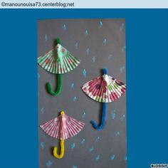 Comme il pleut nous avons eu l'idée de faire avec Adèle, des parapluies avec des moules en papier de cupcakes et du fil chenille. La pluie est faites avec des cotons tiges trempés dans la peinture.