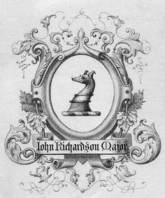 Bookplate of John Richardson Major | Description: States, 'John Richardson Major;' features a shield with a demi-dog. Unsigned.  Format: 1 print, b&w, 12 x 8 cm.  Source: Pratt Institute Libraries, Special Collections 875b (sc00547)   Pratt Libraries Website For inquiries regarding permissions and use fees, please contact: rightsandrepro.library@pratt.edu.