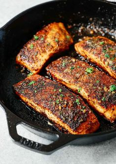 This easy and pan seared blackened salmon recipe uses a homemade spice blend for crispy, flavorful fish. Make this 15 minute recipe for a delicious dinner! #blackenedsalmon #salmonrecipe #dinnerrecipe Healthy Salmon Recipes, Fish Recipes, Seafood Recipes, Cooking Recipes, Keto Recipes, Dinner Recipes, Skillet Recipes, Protein Recipes, Healthy Recipes