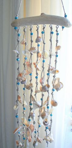 Sea shells windchime beach decor driftwood door SkyLineDesign777