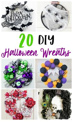 These homemade Halloween wreath options are perfect for the upcoming spooky holiday. All of them are easy to make! What Is Halloween, Modern Halloween, Halloween Boo, Halloween Season, Halloween Crafts, Holidays Halloween, Halloween Goodies, Fall Crafts, Halloween Ideas