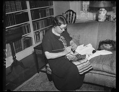 """While the duties of a United States Senator occupy most of her time, Senator Hattie W. Caraway, of Arkansas, found time during he long adjournment of Congress to catch up with her knitting, at which she is an expert."" (1936)"