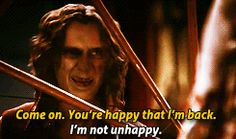 """GIF. Belle: """"Come on. You're happy that I'm back."""" Rumple: """"I'm not unhappy."""""""