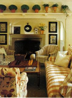 English style family room in London home of David Green, Colefax & Fowler