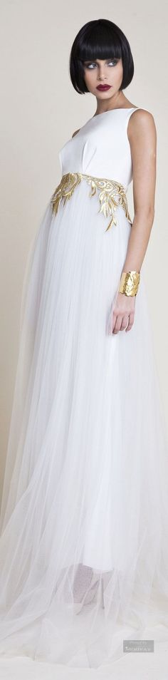 Long white dress with Greek-like accents • Azzi & Osta