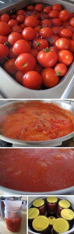Recept na rajský protlak - DIETA.CZ Tomato Sauce Recipe, Sauce Recipes, Canning Recipes, Preserves, Pesto, Food To Make, Food And Drink, Homemade, Vegetables