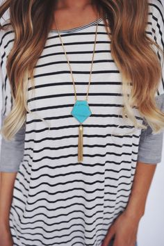 Love the tassel necklace with casual striped Tshirt. Dottie Couture Boutique - Turquoise Tassel Necklace , $18.00 (http://www.dottiecouture.com/turquoise-tassel-necklace/)