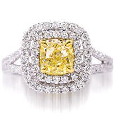 Yellow Diamond Engagement Ring - 1.95 ct. total diamond weight