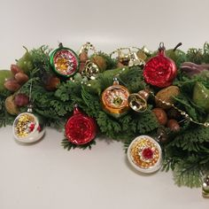 Vintage Indent Mercury Glass Christmas Balls  | Set of 6 Indent Reflective Christmas Ornaments, Silver Red Green Christmas Decorations by Jimpiphanys on Etsy