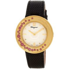 Salvatore Ferragamo Women's Gancino Sparkling White Dial Watch (860 CAD) ❤ liked on Polyvore featuring jewelry, watches, black, dial watches, white dial watches, bezel watches, buckle watches and sparkle jewelry