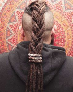 53 Viking Hairstyles for Men You Need To See! Dreads With Undercut, Undercut Braid, Dreadlocks Men, Braided Dreadlocks, Dreadlock Mohawk, Men Dread Styles, Hair And Beard Styles, Long Hair Styles, Dreadlock Hairstyles For Men