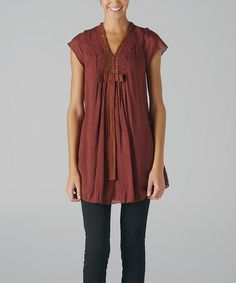 Take a look at this Rust Brown Crocheted V-Neck Tunic by MONORENO by Mür on #zulily today!
