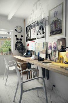 Escritorio para dos. Encontrar la forma de establecer un espacio de trabajo en casa suele ser complicado, pero si además necesitas que éste sea apto para dos personas la cosa se pone aún más difícil. Partiendo de la base de que hay muy poquitos escritorios en el mercado con las dimensiones necesarias para dos personas y