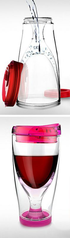 Wine Travel 2 Go Mug // put water in the base and freeze for extra freshness and chill, then bring your wine along! #product_design