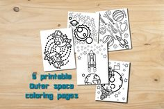Printable kids color page, outer space party favor, instant download, childrens activity, printable kid gift, galaxy party gift boy coloring - pinned by pin4etsy.com