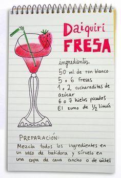 How to make my favorite drink: Daiquiri de morango . Bar Drinks, Wine Drinks, Alcoholic Drinks, Beverages, Cocktail Shots, Cocktails, Martinis, Happy Drink, Café Bar