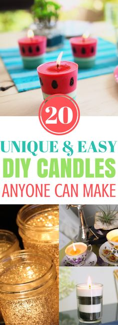 DIY Homemade Candles Ideas - Candles are one of the most fun and awesome diy crafts that you can do. They are quick, easy and just simply awesome. The best part about making your very own candles is that you can go wild with the designs. I'm talking watermelon candle, Starbucks latte candle, cupcake candle to even a cocoa candle!
