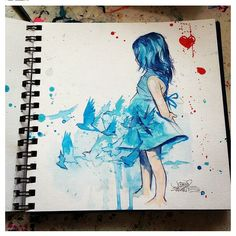 'Blue Girl' by Lora Zombie - Prints available at EyesOnWalls.com #lorazombie #blue