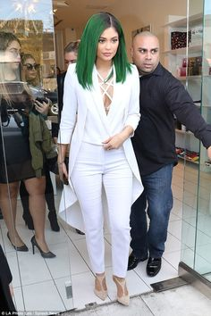 Green goddess: Kylie jenner showed off her emerald coloured tresses at the launch of her l...