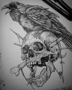 58 Perfect Skull Tattoo Designs That Will Blow Your Mind - Effective Images . - 58 Perfect Skull Tattoo Designs That Will Blow Your Mind – Effective Images We Provide You About - Tattoo Designs, Sketch Tattoo Design, Skull Tattoo Design, Tattoo Sketches, Tattoo Drawings, Body Art Tattoos, Sleeve Tattoos, Skull Drawings, Skull Design