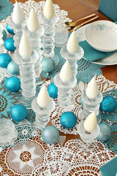 Wintry teal and white tablescape