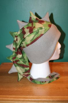Gray/Camouflage Fleece Dragon/Dinosaur Ski Hat (this site has some incredible stuff!!)