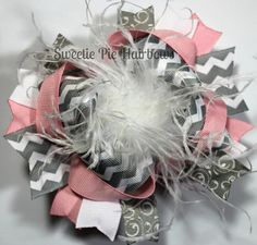 Pink and Gray Over the Top Hair Bow Chevron Deluxe Boutique Hairbows Funky Pink and Grey Curly Ostrich