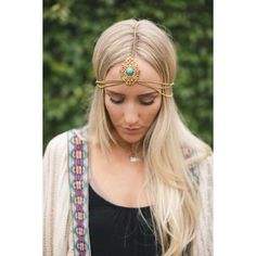 3ec63cf4a7 Gold chain head chain featuring intricate gold cut-out headpiece with  center turquoise stone