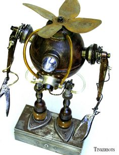 """Robot Sculpture ~ Vesuvius is a little Steampunk and a little vintage tech... The sculpture is 18"""" tall not including the box.  Found Object ~ Mixed Media Sculpture by Dan Jones"""