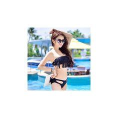 Fringed Cutout Bikini (€13) ❤ liked on Polyvore featuring swimwear, bikinis, women, bikini two piece, fringe bikini, cut out bikini swimwear, cut-out swimwear and bikini beachwear
